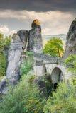 Medeltida Bastei bro i Sachsen Royaltyfri Bild