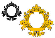 Medeltida blom- ram royaltyfri illustrationer