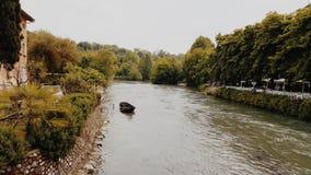 Medeltida byflod i Italien Arkivbilder