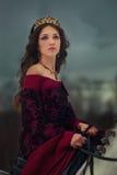 Medeltida drottningstående royaltyfri fotografi