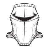 Medeltida europeisk hjälm som tillhör heaumetypen Slapp fokus Heraldikbeståndsdel Svärta en vit teckning för nd som isoleras på Royaltyfri Bild