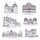 Medeltida europeiska slottar och tunn linje för fortin vektor illustrationer
