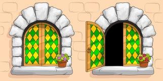 Medeltida fönster, grön målat glass, vita stenar royaltyfri illustrationer