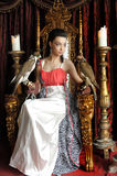 Medeltida fantasiprinsessa med två falkar Arkivbild