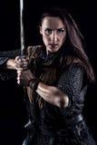 Medeltida fantasiriddare för kvinnlig krigare Arkivfoton