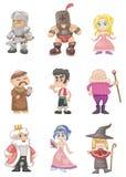 medeltida folk för tecknad film Royaltyfria Bilder
