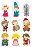 medeltida folk för tecknad filmsymbol Royaltyfri Foto