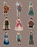 medeltida folketiketter för tecknad film Royaltyfria Bilder