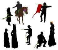 medeltida folksilhouettes stock illustrationer