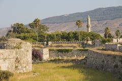Medeltida fortess på den Kos ön arkivfoto