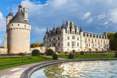 Medeltida fransk slott som byggs i århundrade 15-16 Arkivfoton