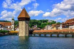 Medeltida gammal stad av Lucerne, Schweiz arkivfoto