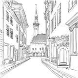 Medeltida gammal stad för vektor, Tallinn, Estland vektor illustrationer