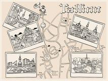 Medeltida gammal stad för vektor, Tallinn, Estland Arkivbilder