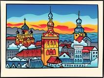 Medeltida gammal stad för vektornatt, Tallinn, Estland Arkivbilder