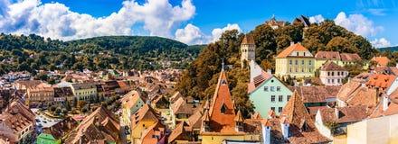 Medeltida gammal stad Sighisoara i det Mures länet, Transylvania, Rumänien arkivbilder
