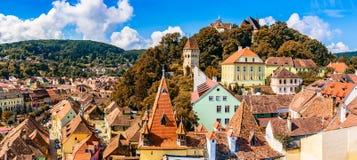 Medeltida gammal stad Sighisoara i det Mures länet, Transylvania, Rumänien royaltyfri foto