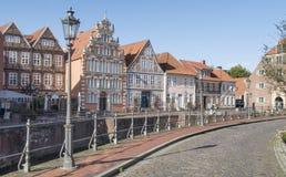 Medeltida gammal stad Stade med den historiska hamnen i Tyskland royaltyfria foton