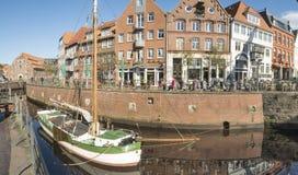 Medeltida gammal stad Stade med den historiska hamnen i Tyskland royaltyfria bilder
