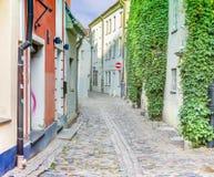 Medeltida gata i gammala Riga, Lettland Fotografering för Bildbyråer