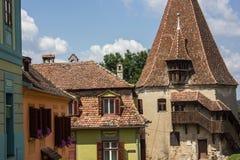 Medeltida gatasikt i den Sighisoara citadellen, Rumänien Arkivfoto