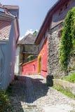 Medeltida gatasikt i den Sighisoara citadellen, Rumänien Arkivbilder