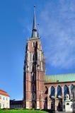 Gotisk domkyrka i wroclawen, Polen royaltyfria foton