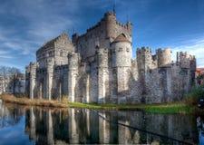 Medeltida Gravensteen slott i Ghent, Belgien Arkivfoto