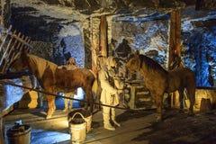 Medeltida gruvarbetare och hästar på arbete i Wieliczka Arkivbild