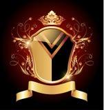 Medeltida heraldiskt skyddar den utsmyckade guld- prydnaden vektor illustrationer
