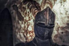Medeltida hjälm av riddaren fotografering för bildbyråer