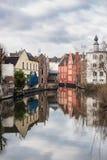Medeltida hus i Ghent, Belgien Arkivbild