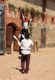 medeltida jonglörer Royaltyfria Bilder