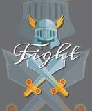 Medeltida korsade svärd för vektor och hjälmbeståndsdelar royaltyfri illustrationer