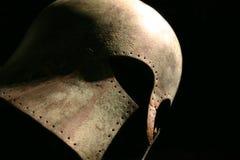 medeltida krigare för hjälm Arkivfoto