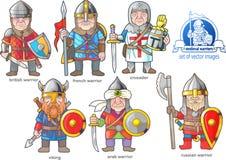 Medeltida krigare, uppsättning av tecknad filmbilder vektor illustrationer