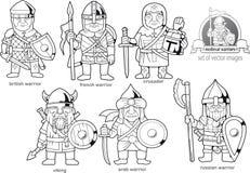 Medeltida krigare, uppsättning av tecknad filmbilder royaltyfri illustrationer