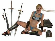 medeltida krigarekvinna Royaltyfri Fotografi