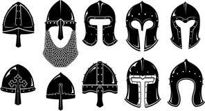 Medeltida krigroder för normand och Barbute Royaltyfria Bilder