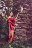 Medeltida kvinna med den smarta ugglan som sitter på väggen av slotten arkivbilder