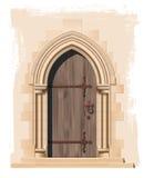 Medeltida kyrklig dörr- och stenbåge - illustration Fotografering för Bildbyråer