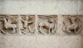 medeltida lättnad för bas Arkivbilder