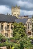 Medeltida landskap av stadsbadet, Somerset, England Arkivfoto