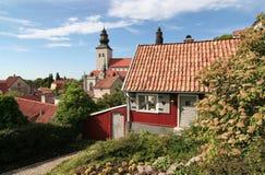 medeltida liten stad för stuga Arkivfoton