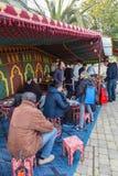 Medeltida marknadsfestival i den spanska byn Calonge Arkivfoto