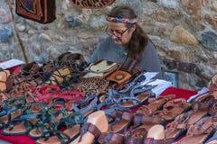 Medeltida marknadsfestival i den spanska byn Calonge Royaltyfria Bilder