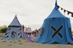 Medeltida militärt läger Royaltyfria Bilder
