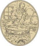 Medeltida munkBrewing Beer Oval teckning stock illustrationer