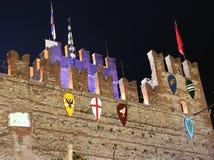 medeltida natt för slott Arkivbilder