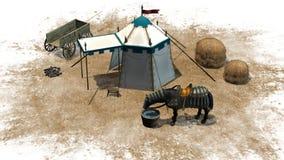 Medeltida plats med hästen Royaltyfri Fotografi